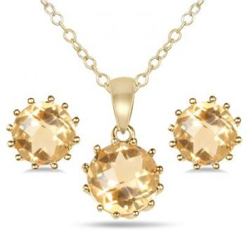4 Carat Citrine Pendant and Earring Set