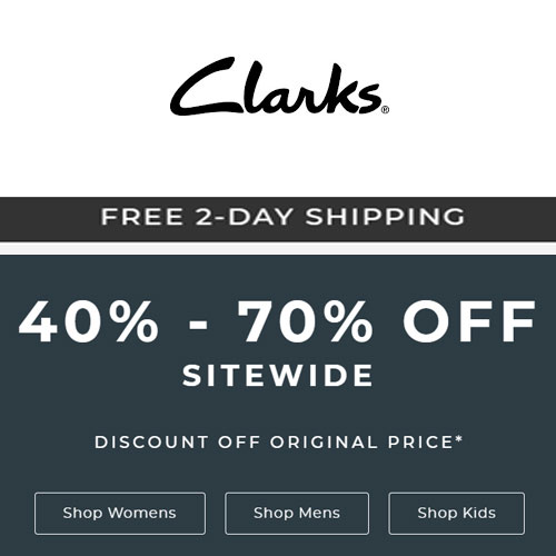 Clarks Holiday Deals: 40%-70% off on Sitewide